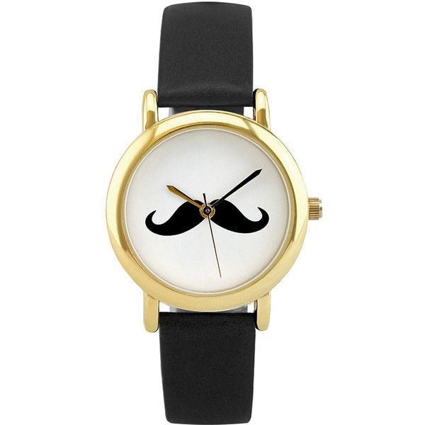 Womens Fancy Moustache Watch ($12) ❤ liked on Polyvore featuring jewelry, watches, mustache jewelry, buckle watches, plastic jewelry, fancy jewelry and plastic watches