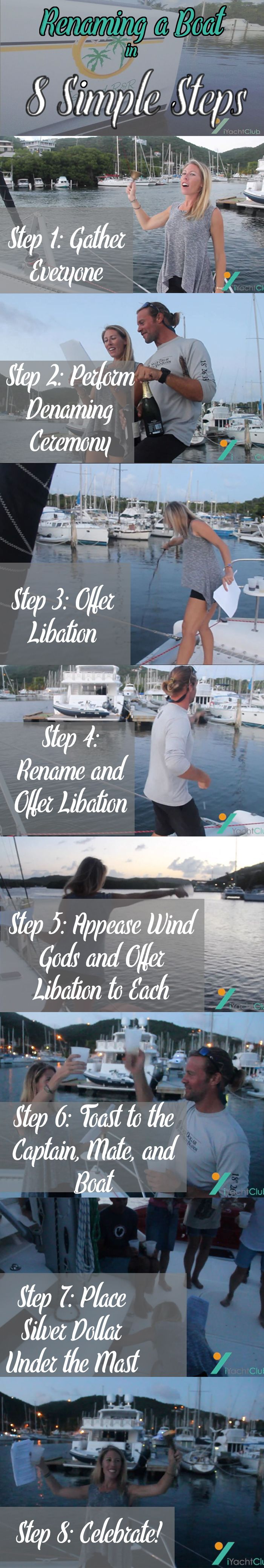 Renaming a Boat: Broken down into 8 Simple Steps to keep you on track during the ceremony.  Click the image to check out everything you need to know about a boat renaming ceremony!