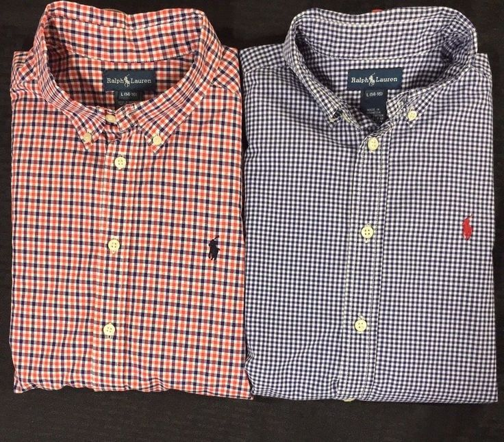 Polo Ralph Lauren Boys Shirts Large 14-16 Pony Lot of 2 Red Blue Checked Plaid #PoloRalphLauren #Everyday