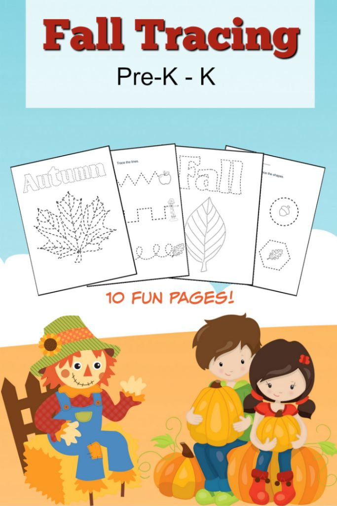 Download this free fall tracing pack filled with 10 tracing worksheets for preschoolers!