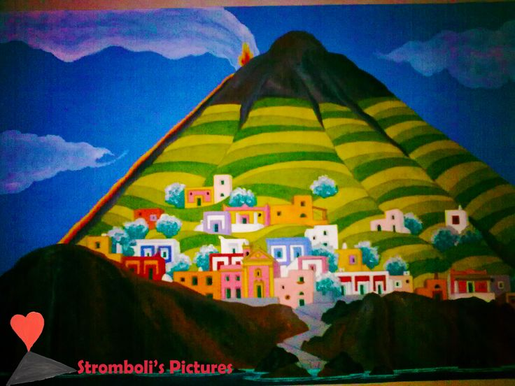 A #Painting of #Stromboli.