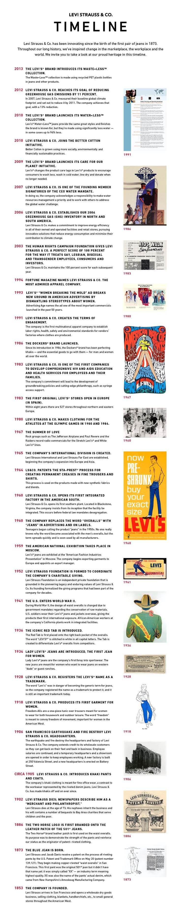Levi Strauss & Co. has been innovating since the birth of the first pair of jeans in 1873. Throughout our long history, we've inspired change in the marketplace, the workplace and the world. We invite you to take a look at our proud heritage in this timeline.