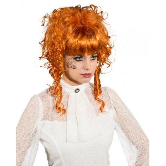 Koperkleurige middeleeuwse damespruik opgestoken krullend haar. Koperkleurige pruik met opgestoken haar, mooie toevoeging van u verkleedoutfit.