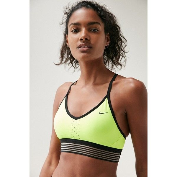 Nike Pro Indy Cool Sports Bra ($50) ❤ liked on Polyvore featuring activewear, sports bras, yellow sports bra, low impact sports bra, nike sports bra, nike sportswear and nike activewear