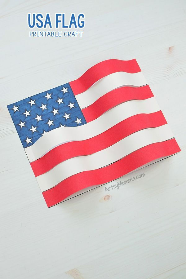 Creative American Flag Craft With Printable Template Wavy 3d Flag Art 4thofjulycrafts Patrioticcrafts A American Flag Crafts Flag Crafts American Flag Art