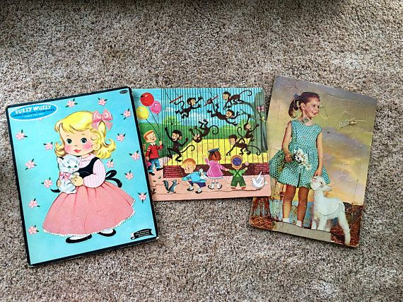 LOT of 3 three Chidren's Jigsaw Puzzles Fuzzy Wuzzy and