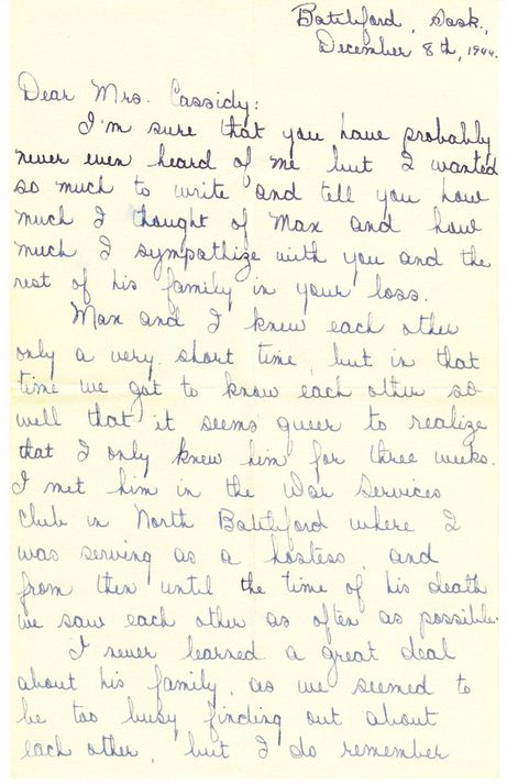 After her Australian boyfriend Maxwell Cassidy was killed in a training accident, June Light wrote this letter of condolence to his family. To read the whole letter, visit my blog Wartime Wednesdays at www.elinorflorence.com/blog/maxwell-cassidy.