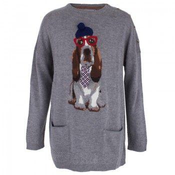 Mayoral Girls Gray Basset Hound Sweater Dress   AlexandAlexa