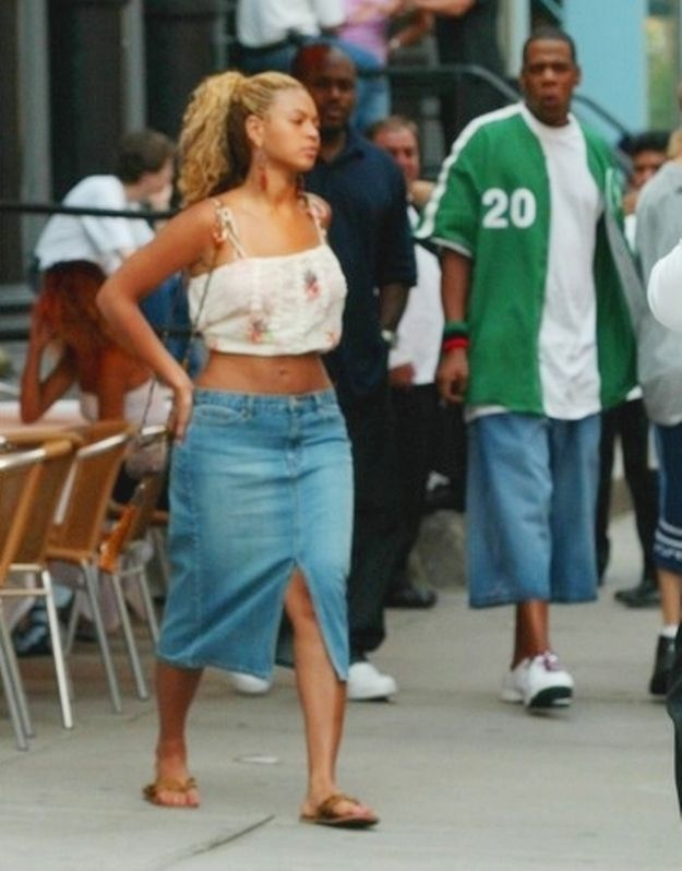 The way Jay-Z is always blown away by Beyoncé, even when shes wearing a split-leg denim skirt.