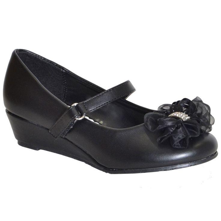 Kids Dress Shoes Rhinestone Flower Accent Low Wedge Slip On Black