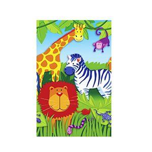Jungle Animals Kağıt Masa Örtüsü, 1 yaş doğum günü masa süsleri