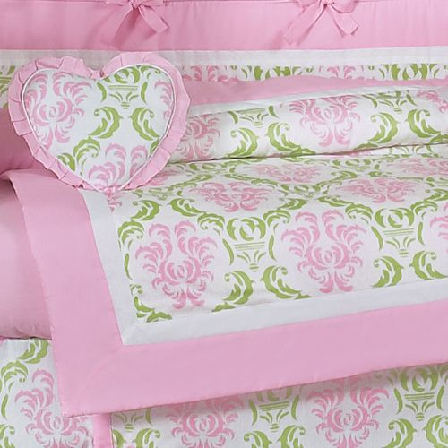 Lime Green And Pink Damask Baby Bedding Crib Set For