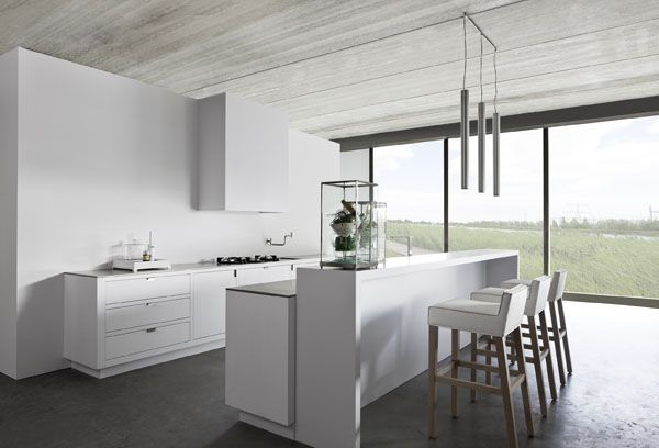 Kitchen, Awesome Kitchen Idea: A Minimal Kitchen Design For A Large Space Kitchen