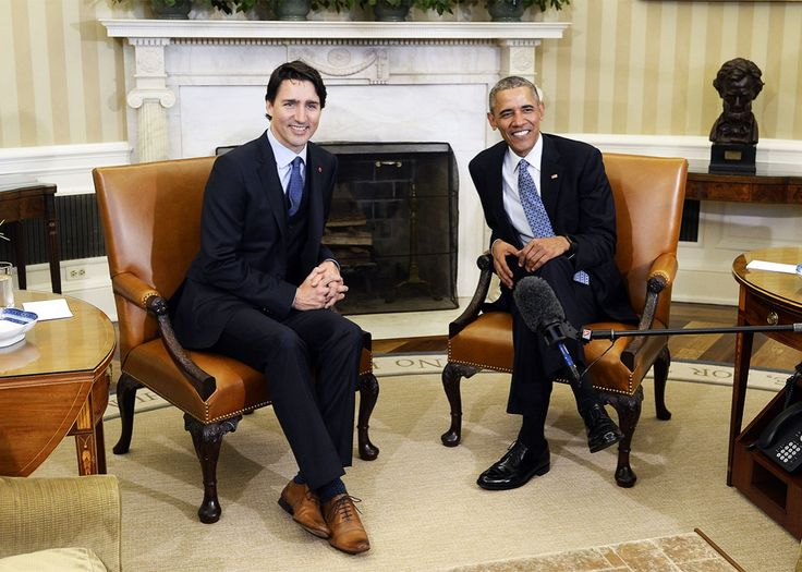 President Obama and Canadian Prime Minister Justin Trudeau speak in the Oval Office of the White House on Thursday in Washington.