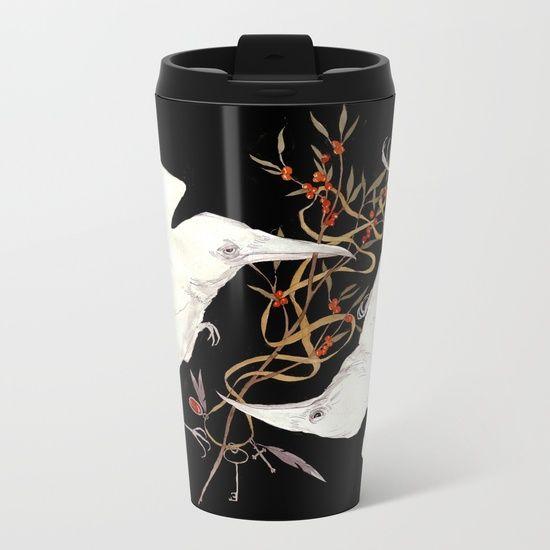 Two White Ravens Metal Travel Mug