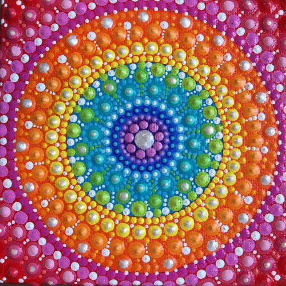 Arco iris Chakra Mandala pintura Original Pintado a mano
