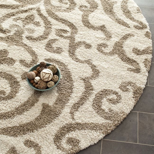 Safavieh Florida Shag Ornate Cream Beige Damask Round Rug 5 By Living Room RugsDining