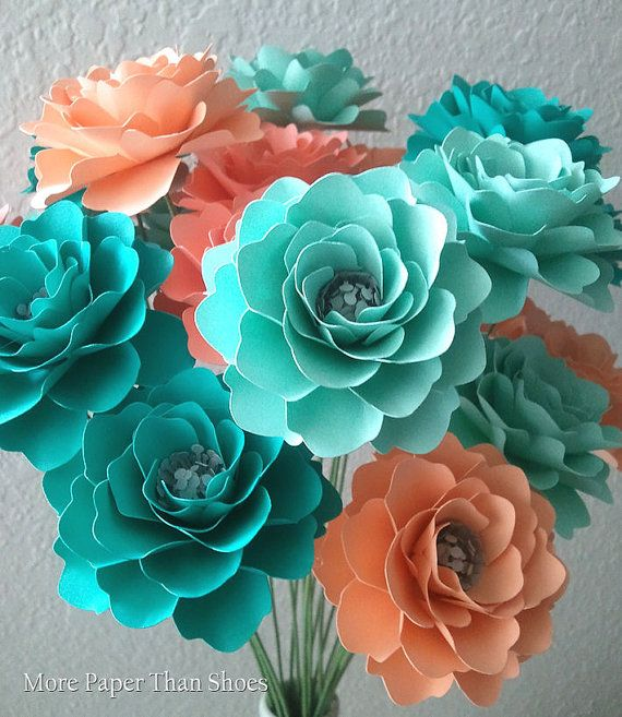 Paper Flowers  Handmade  Stemmed  Salmon  by morepaperthanshoes, $66.00