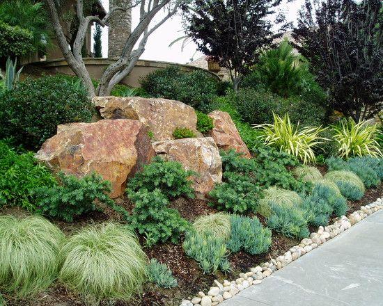Mediterranean landscape hillside design like the rocks for Hillside rock garden designs