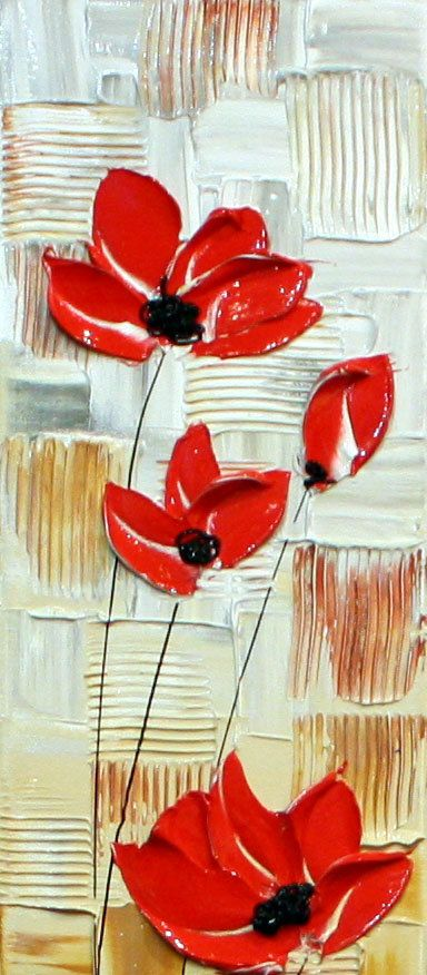Original Abstract Acrylic Painting.Red Poppy Heavy by NataSgallery
