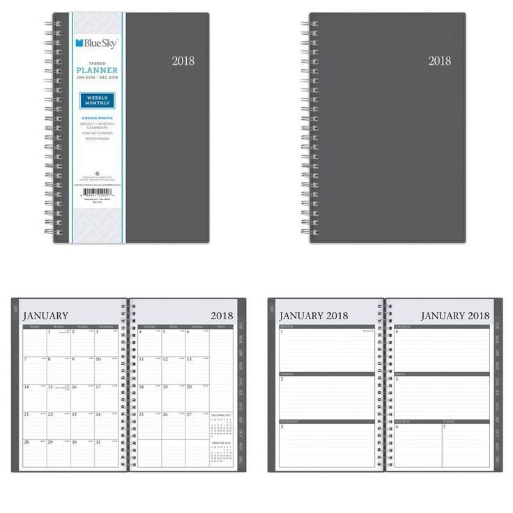 "Blue Sky 2018 Calendar Organizer Weekly Monthly Planner Twin-Wire Binding 5""x8"" #BlueSky"