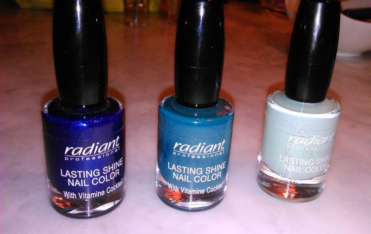 radiant professional nail polish in colors blue, turqoise, petrol