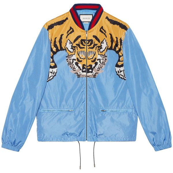 Gucci tiger print lightweight jacket ($1,515) ❤ liked on Polyvore featuring men's fashion, men's clothing, men's outerwear, men's jackets, blue, mens nylon jacket, mens blue bomber jacket, mens zipper jacket, mens blue jacket and mens short sleeve jacket