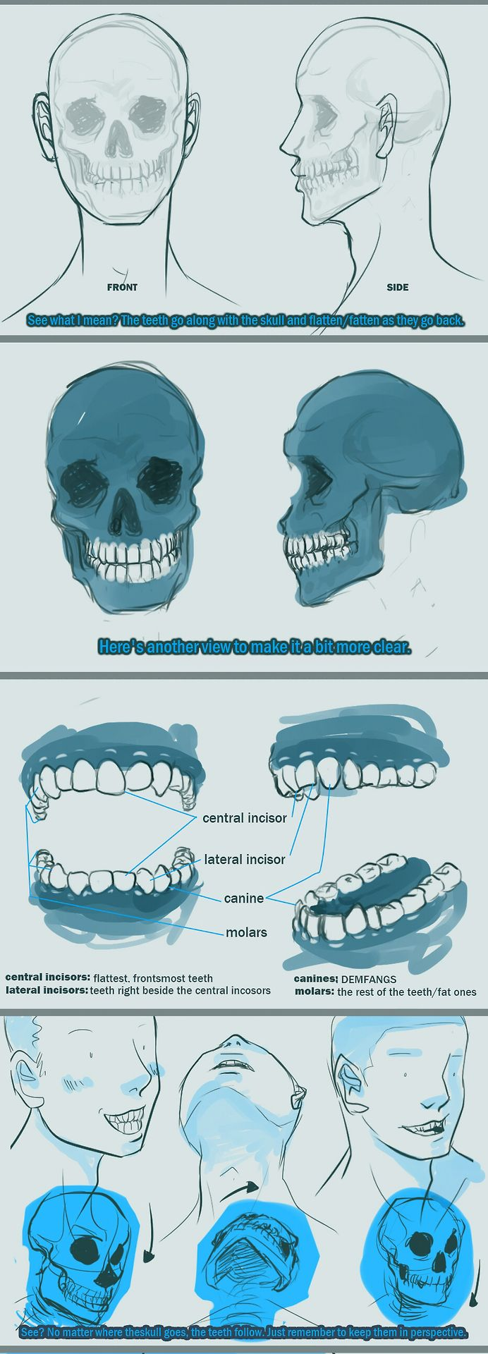 how to draw a mouth with teeth