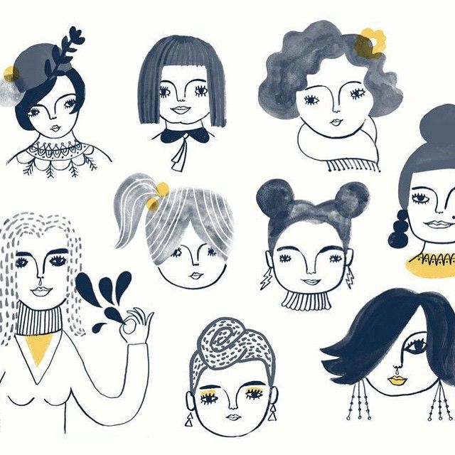A piece I did a few years ago called Adventurous Women. It's a print in our shop and also inspired some pin badges. I made this after an episode of Girls. I really love that show. It goes by in a blink and we always want more when it's over. And Shosh's hairstyles are so rad. Here's to women every where gettin' it done and making things happen. Yay National Women's' Day! #sarahwalshmakesthings #nationalwomensday