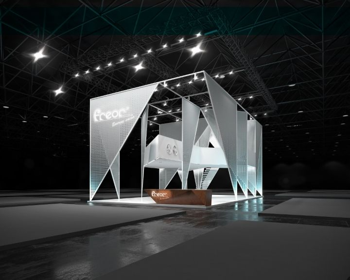 D Cinema Exhibition : Cold sharp planes of the triangles are supported against