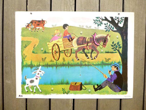 Affiche scolaire française vintage  Tableau par LeGrenierDeFrancine