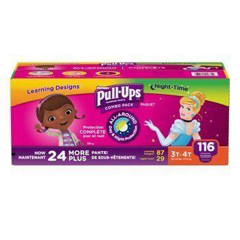 Huggies® Pull-Ups® Training Pants for Girls Day and Night Combo Pack Size: 2T-3T 124 Count:   Huggies® Pull-Ups® Training Pants Day and Night Combo Pack for Girls Size 2T-3T - 124 Count. Combo Pack Includes - 93 Daytime Pull-Ups & 31 Nighttime Pull-Ups. Better Fit for easy on and off. Added absorbent where girls need it most provides extra protection, day and night. More coverage with higher rise plus softer, stretchier sides give your child a comfortable fit. Designed to slide on and ...