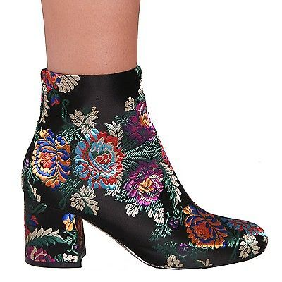 LADIES-WOMENS-FLORAL-BLOCK-HEEL-ANKLE-BOOTS-ZIP-UP-CASUAL-STYLE
