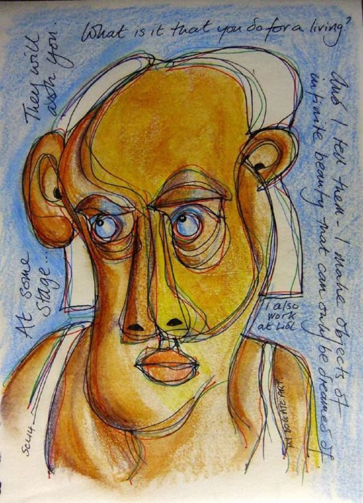 ARTFINDER: At Lidl by Steve Clement-Large - Tortured genii inhabit the aisles of our supermarket chains - check them out as they check you out. Musings in pencil and ink.