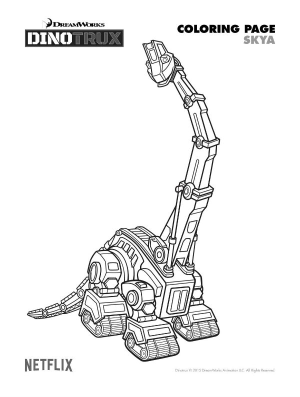 Free Dinotrux Skya Coloring Page Printable Pages Crafts