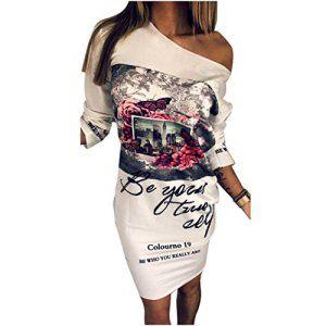 Transer ® Mode féminine été Polyester Trois quarts manches épaule irrégulière casual fleurs sexy Robe imprimée Blanc(S-L) (S)