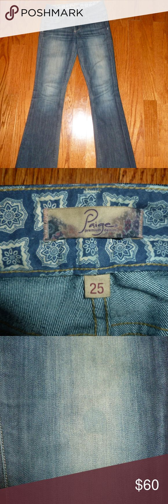 Paige Transcend Hidden Hills Jeans Size 25 Jeans have a round stain on upper thigh in front (third image shows stain). Were hemmed by Nordstrom after purchase.  Boot cut. I dried them so they're a little smaller than the original size. Paige Jeans Jeans Boot Cut