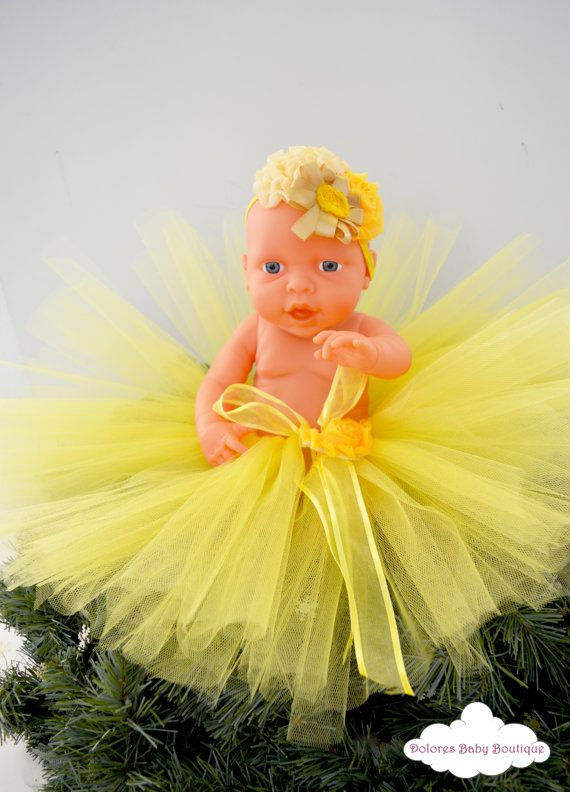 Baby girl outfit Baby Yellow Tutu Baby by DoloresBabyBoutique