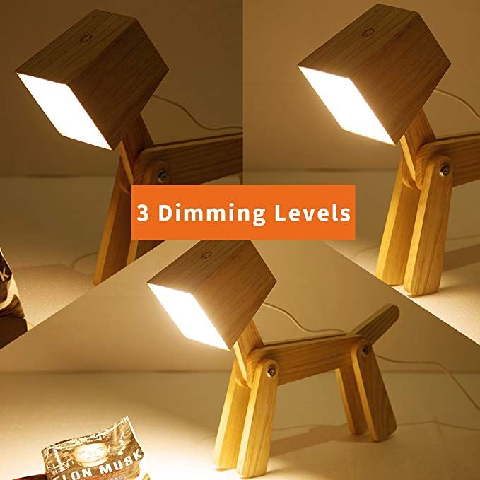 Hroome Modern Cute Dog Adjustable Wooden Dimmable Beside Desk Table Lamp Touch Sensor With Night Light For Bedroom Office Kids Wa Lamp Dimmable Lamp Cool Lamps