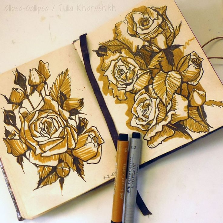 SketchItSunday. Going to make a pattern from these roses some day. Faber-castell pens and self-made sketchbook. :)  floral, art, sketch, sketchbook, drawing, roses, graphic art, botanical, inkpen