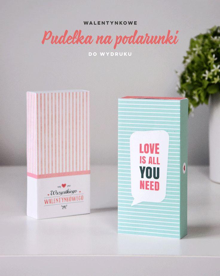 Walentynkowe pudełka na prezenty do wydruku