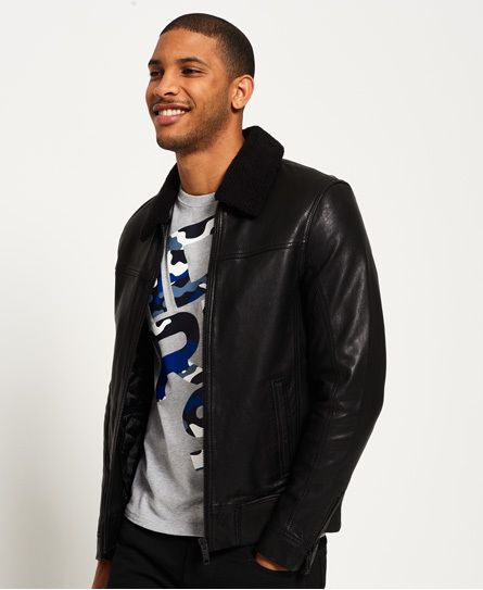 Superdry IE Iconic Sherpa Collar Leather Flight Jacket