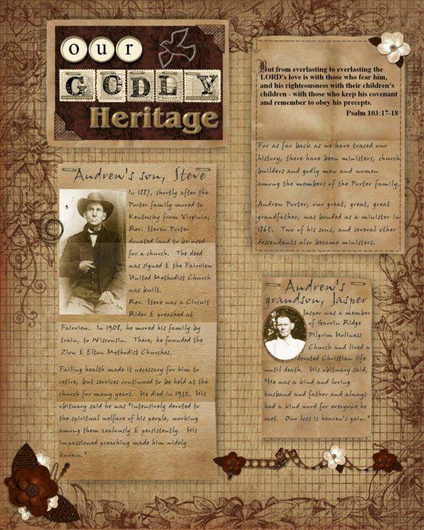 Godly Heritage 1...nice layout for genealogy info