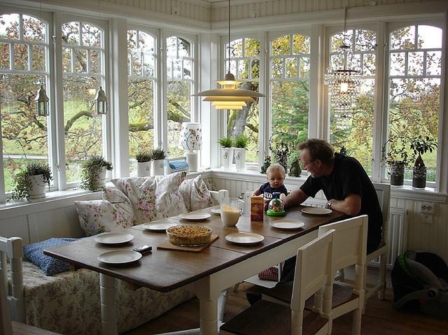 156 best breakfast nooks we love images on pinterest for Sunroom breakfast nook