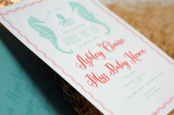 sea horse . octopus . under the sea . baby shower . letterpress . invitation . coral . pool