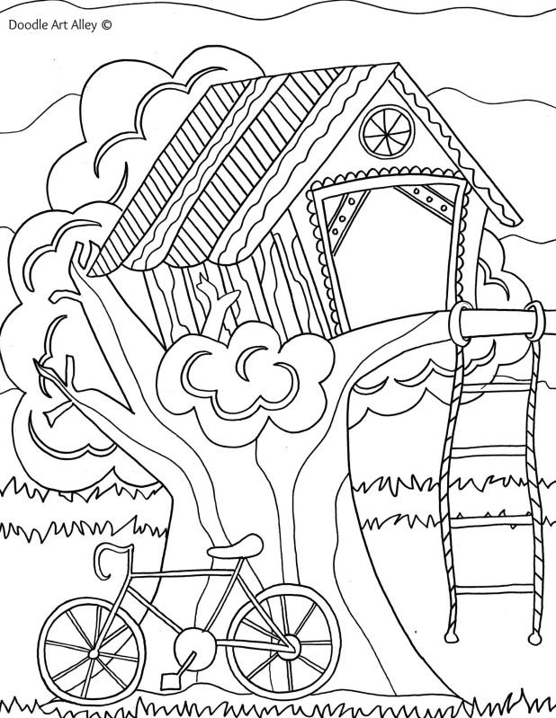 treehouse coloring pages - coloring page treehouse bike art