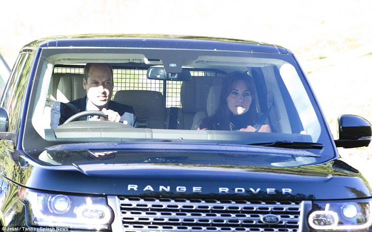 The royal couple drove from Balmoral Castle to the church behind Prince Charles...