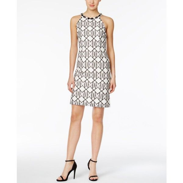 Nine West Lace Beaded Halter Dress (120 CAD) found on Polyvore featuring women's fashion, dresses, beaded dress, lace cocktail dress, white halter dress, white lace cocktail dress and white beaded cocktail dress