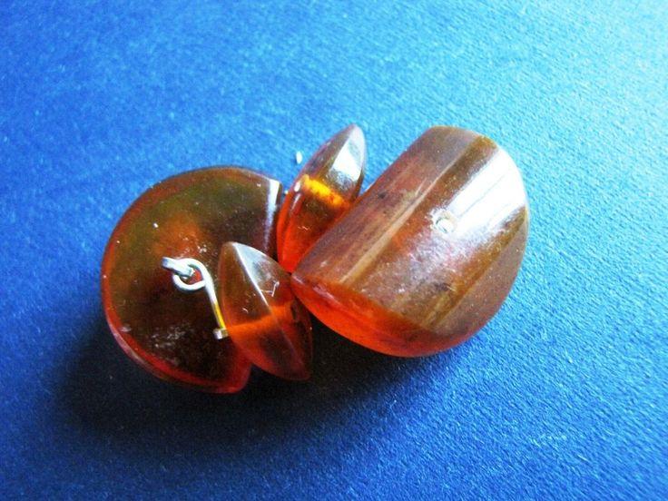 Natural Baltic Amber BUTTERSCOTCH Cognac cufflinks 7.5 gr Vintage Retro Jewelry