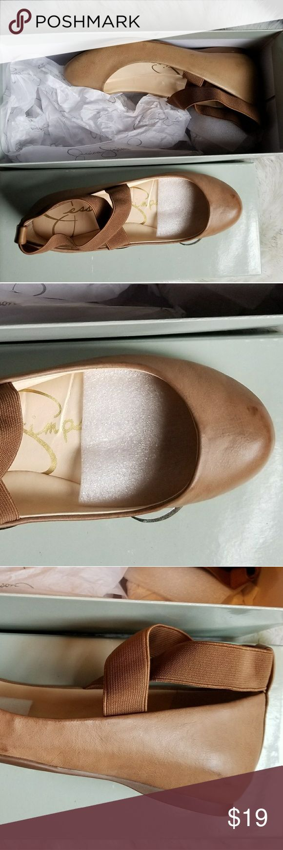 "Jessica Simpson Eureka Mandays Ballet shoe Cafe Cafe colored, never worn, ballet shoes by Jessica Simpson. Bought for my sister who wears a solid size 6 said they were a little tight. They have distinct dye marks for character. Darker tone of ""nude"" tan color. Elastic straps. Jessica Simpson Shoes Flats & Loafers"